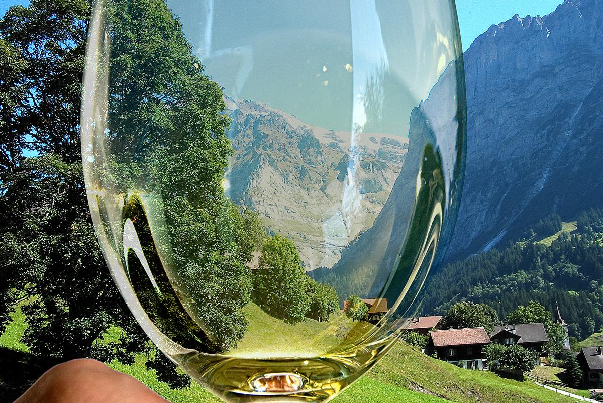 Switzerland through wine glass