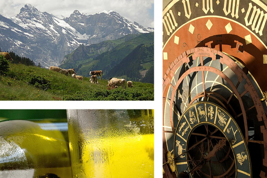 Collage of Clock, mountains and white wine bottle.
