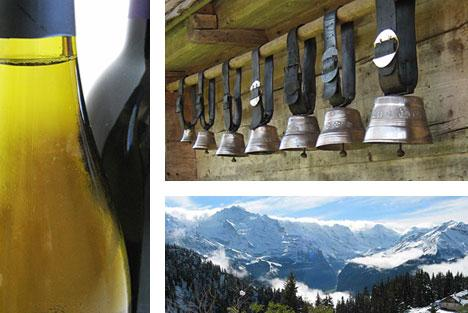 Collage of Swiss wine bottle, Swiss cow bells, and Swiss mountain range. Photos by. A. Haenni
